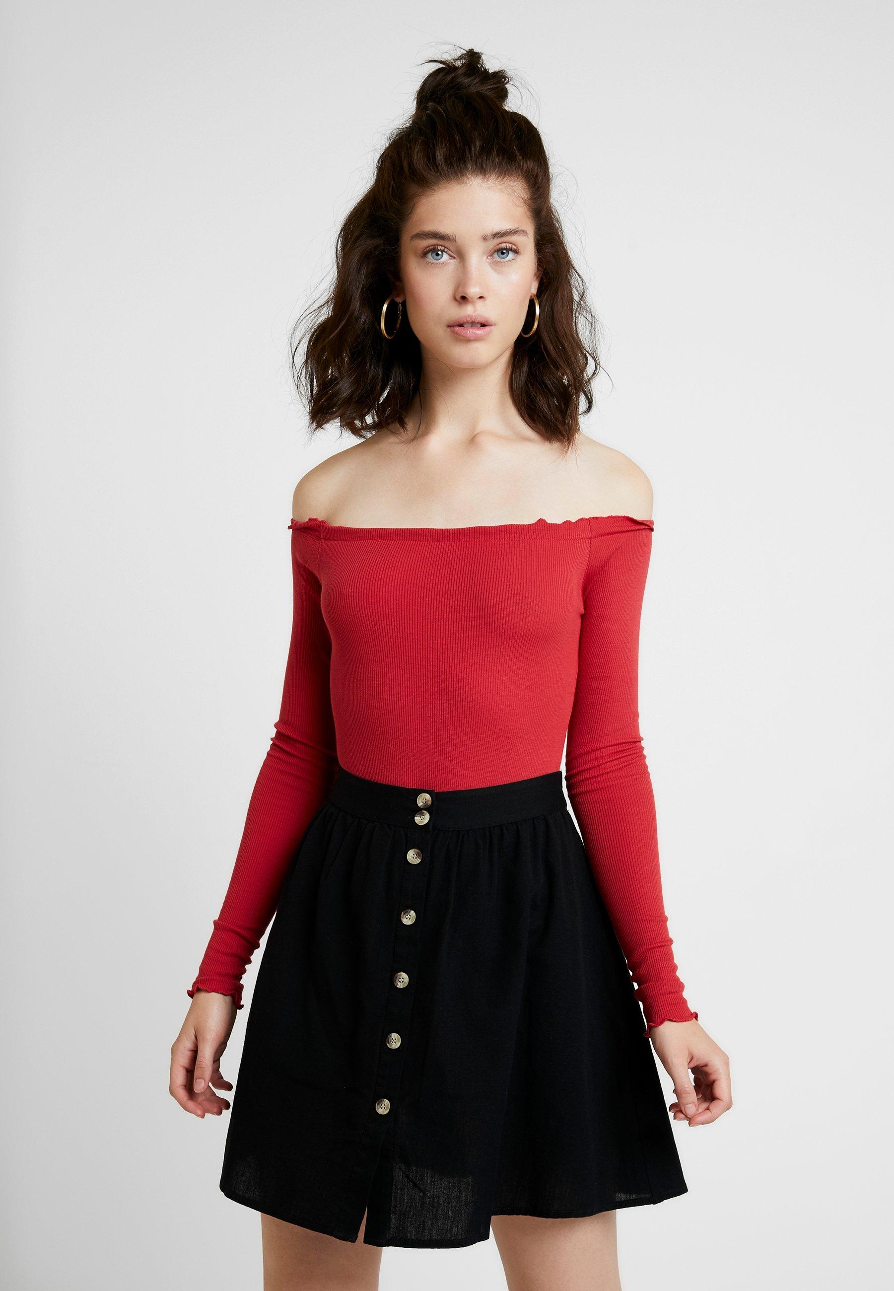 shirt Babylock Red Manches Na BodyT Washed kd Longues Shoulder À shQrtxdC
