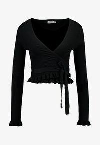 NA-KD - HANNA WEIG TIED  - Bluzka z długim rękawem - black - 5