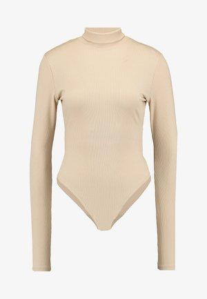 OPEN BACK HIGHNECK BODYSUIT - Maglietta a manica lunga - beige