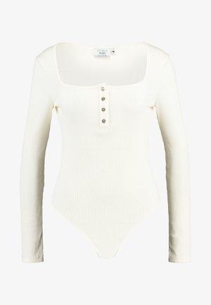 Pamela Reif x NA-KD LONG SLEEVE BUTTON DETAIL BODYSUIT - Longsleeve - off white