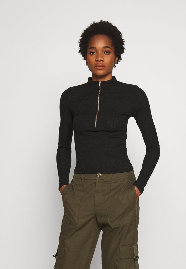 ZIPPER TOP - Bluzka z długim rękawem - black
