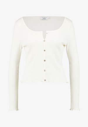 Pamela Reif x NA-KD LONG SLEEVE LETTUCE HEM CROP - T-shirt à manches longues - white