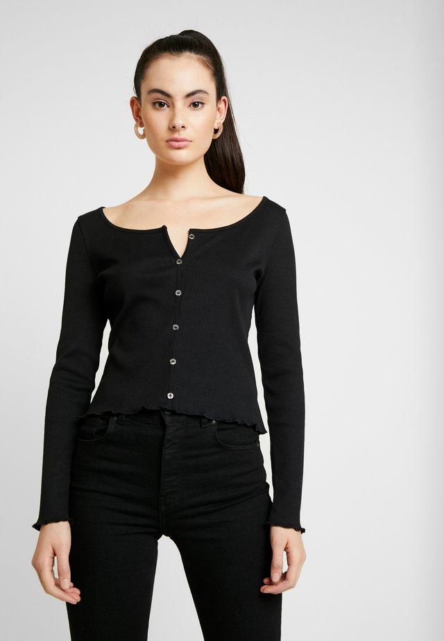 Pamela Reif x NA-KD LONG SLEEVE LETTUCE HEM CROP - Long sleeved top - black