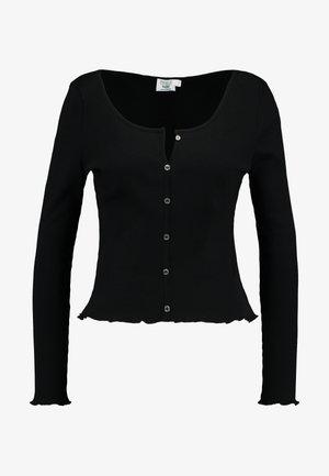Pamela Reif x NA-KD LONG SLEEVE LETTUCE HEM CROP - Maglietta a manica lunga - black