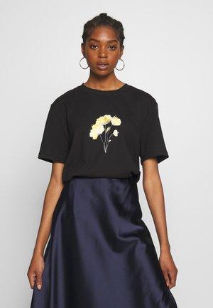 LINE FLOWER PRINTED TEE - T-Shirt print - black
