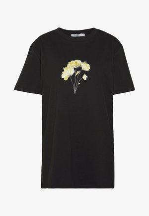 LINE FLOWER PRINTED TEE - T-shirts med print - black