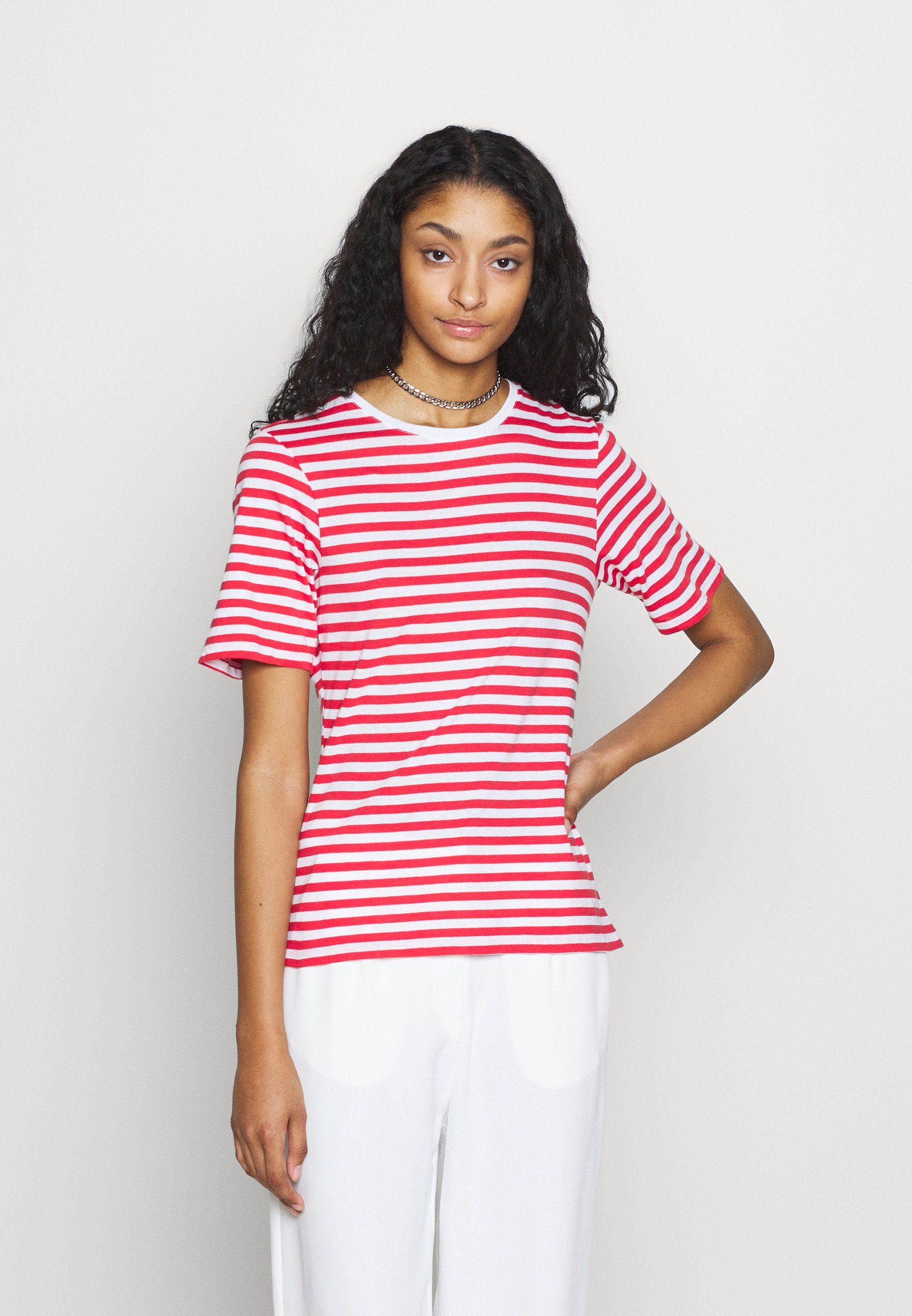 NA-KD STRIPED TEE - T-shirts med print - red/white