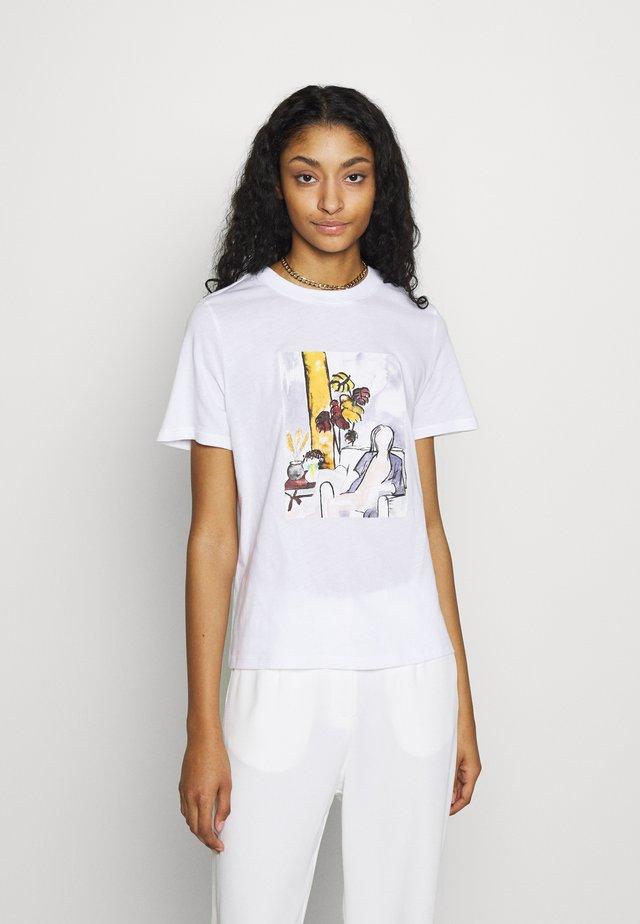 WOMAN WATERCOLOR TEE - T-shirts print - white