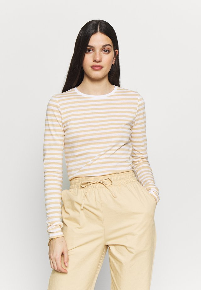 LONG SLEEVE STRIPED TEE - Pitkähihainen paita - beige/white