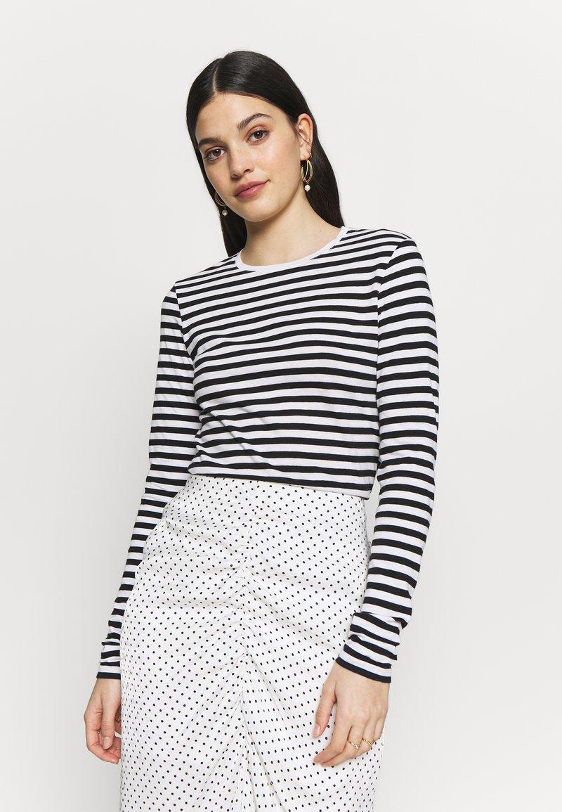 NA-KD - LONG SLEEVE STRIPED TEE - Long sleeved top - black/white