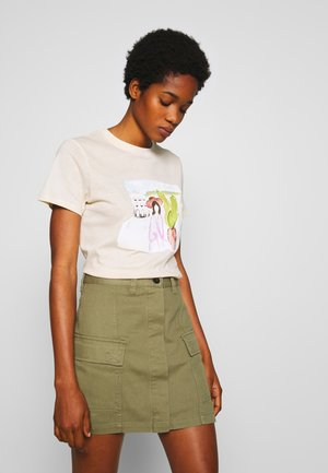 PALM TREE WATERCOLOR TEE - T-shirts med print - off white