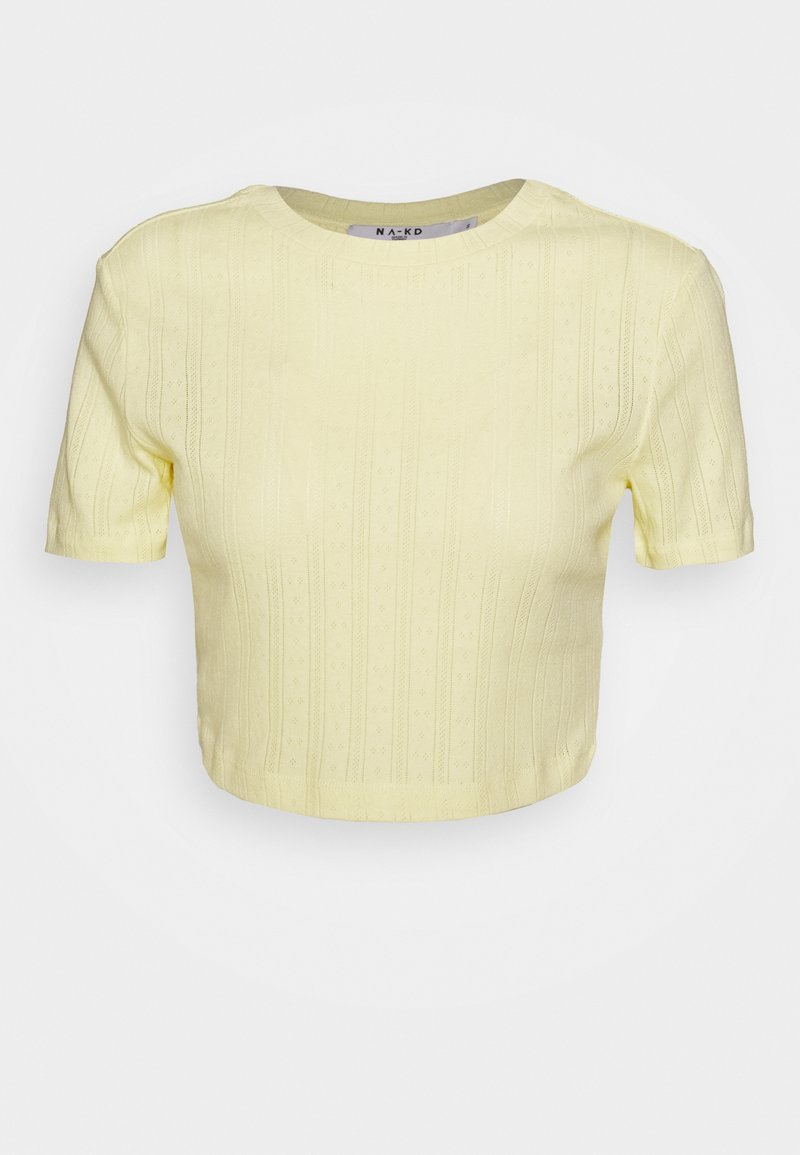 NA-KD - STRUCTURED CROPPED RIBBED TEE - Basic T-shirt - yellow