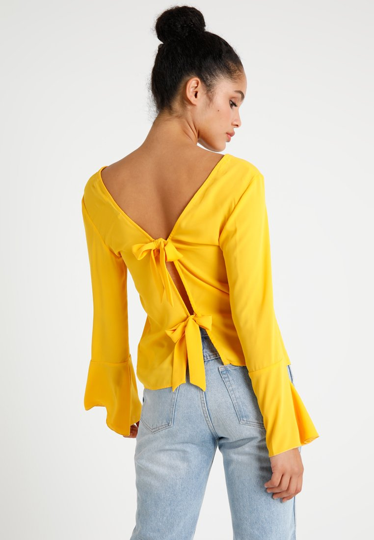 NA-KD - TIE BACK WIDE SLEEVE BLOUSE - Bluse - citrus