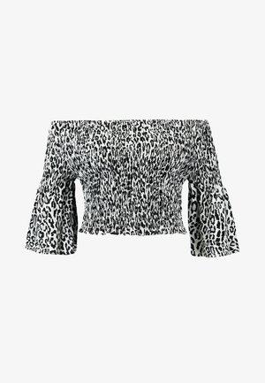 LEOPARD PRINT BARDOT SMOCK - Bluse - black