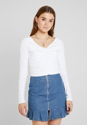 IVA NIKOLINA V-NECK GATHERED DETAIL - T-shirt à manches longues - white