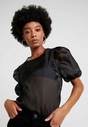 PUFF SLEEVE ORGANZA BLOUSE - Bluzka - black