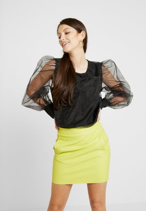 TINA MARIA PUFFY SLEEVE ORGANZA BLOUSE - Blus - black