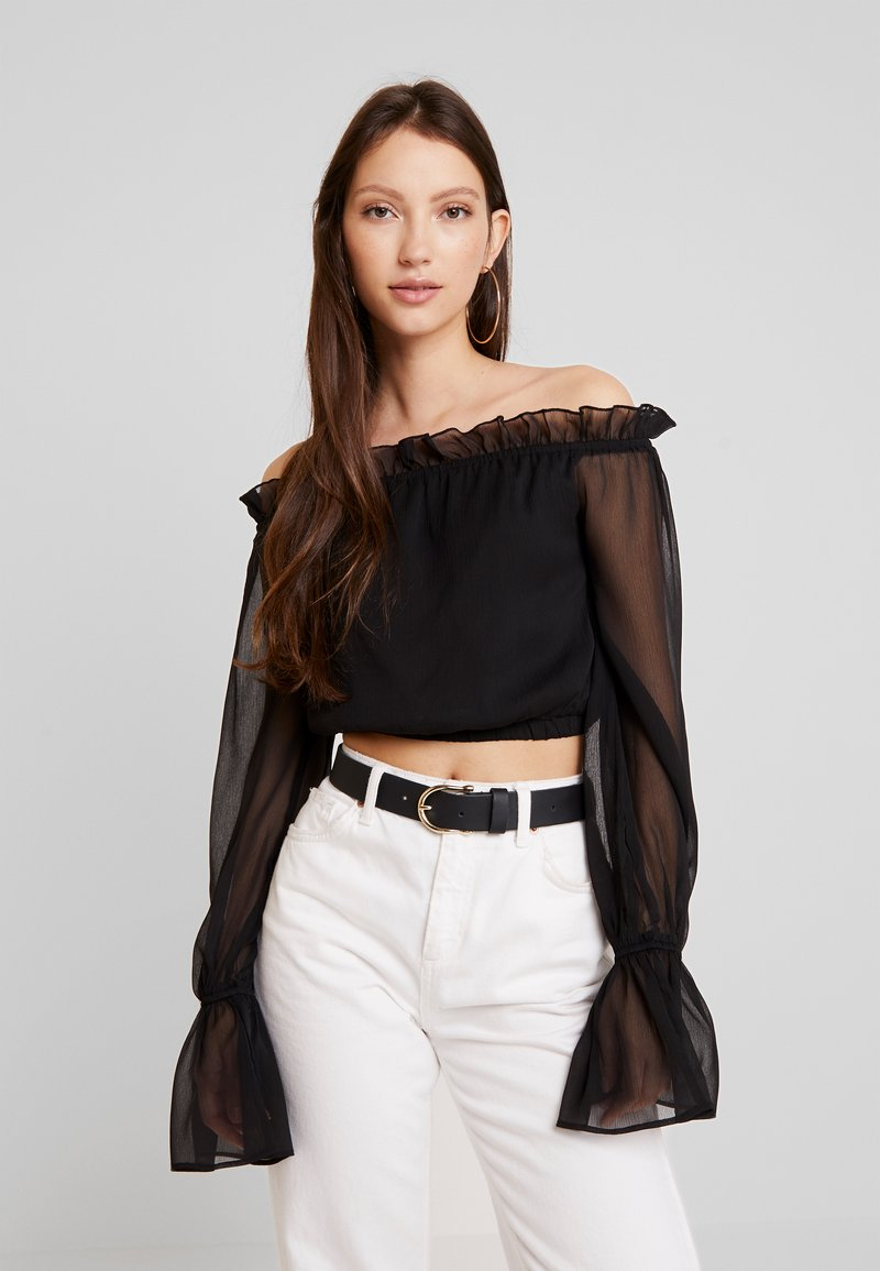NA-KD - HANNA WEIG OFF SHOULDER FRILL NECK BLOUSE - Bluse - black