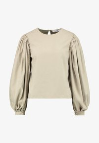 NA-KD - PUFF SLEEVE ROUND NECK - Blouse - beige - 4