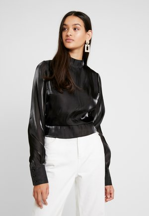 OPEN BACK TIE DETAIL BLOUSE - Blusa - black