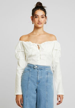RUFFLE CUP BLOUSE - Pusero - ivory