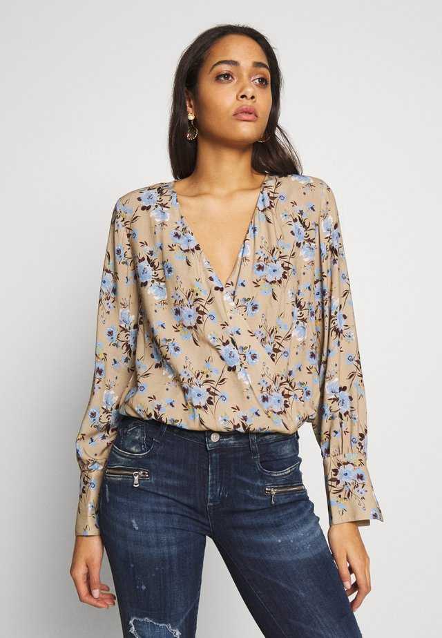 WIDE CUFF WRAP BLOUSE - Bluzka - flower print