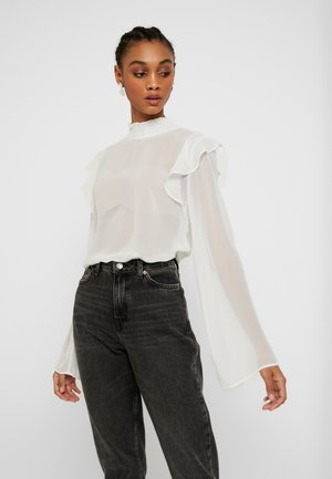 WIDE SLEEVE FRILL BLOUSE - Blusa - white