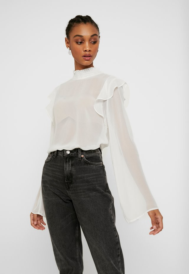 WIDE SLEEVE FRILL BLOUSE - Bluzka - white