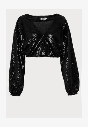 OVERLAP SEQUIN BLOUSE - Blouse - black
