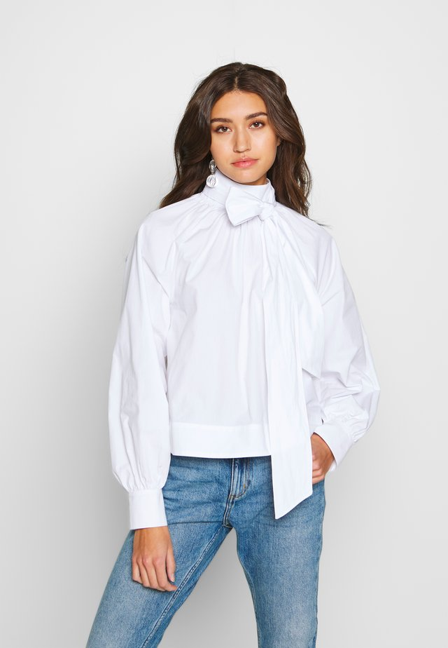 BALLOON SLEEVE BOW BOXY BLOUSE - Bluzka - optical white