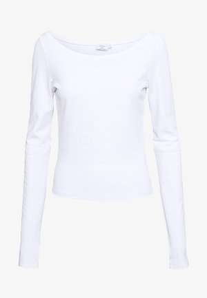 DEEP BOAT NECK - Long sleeved top - white