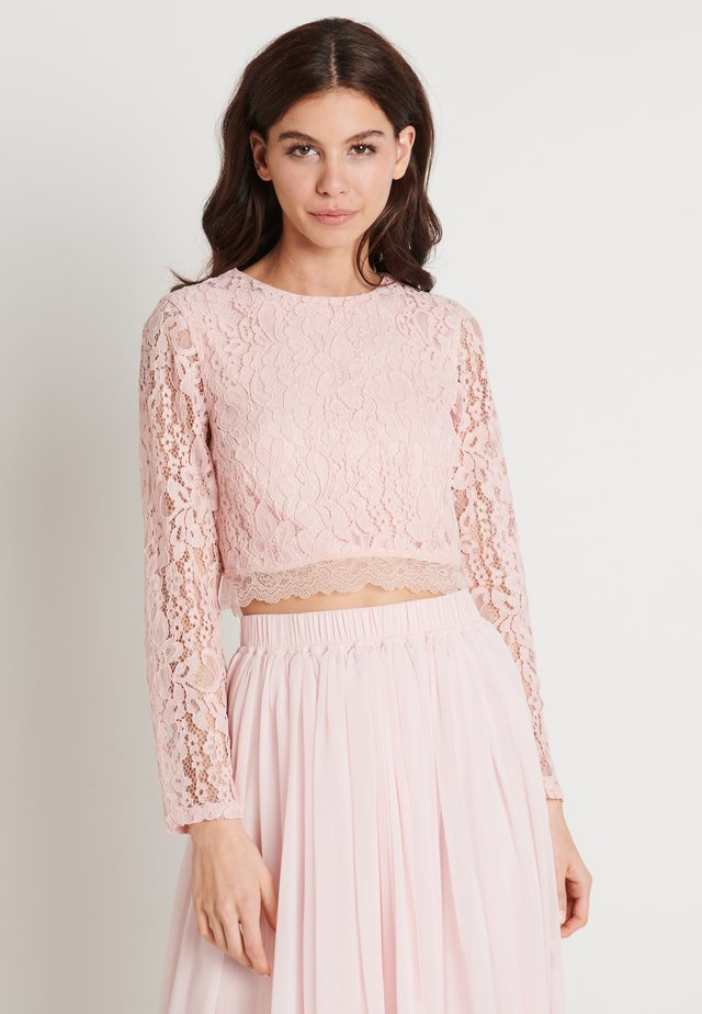 ZALANDO X NA-KD LONG SLEEVE LACE TOP - Bluzka - dusty pink
