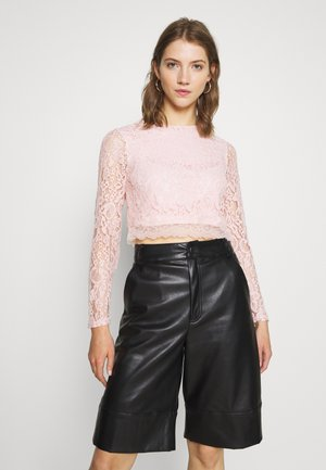 ZALANDO X NA-KD LONG SLEEVE LACE TOP - Blouse - dusty pink