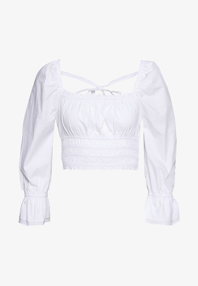 SQUARE FRILL NECK BLOUSE - Pusero - white