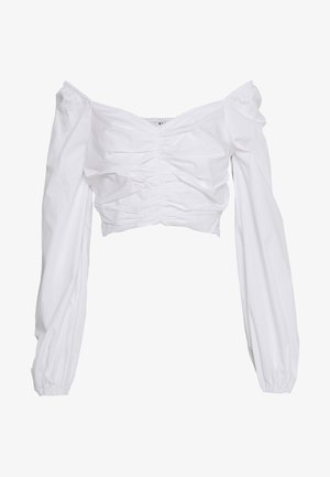 GATHERED FRONT BLOUSE - Blusa - white
