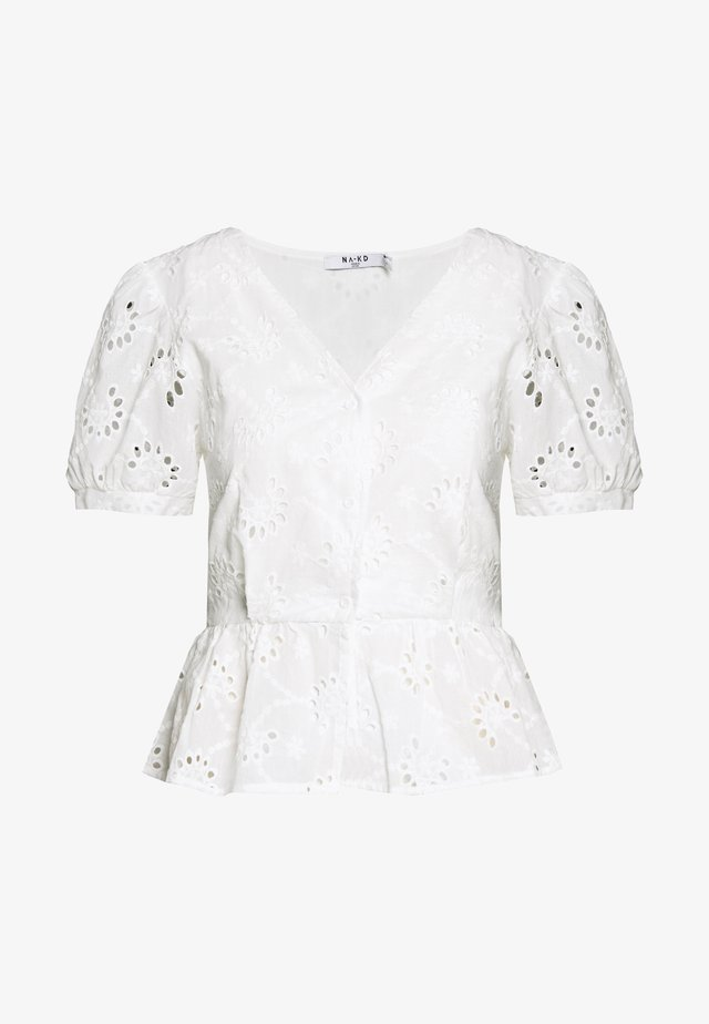FLOWER ANGLAISE BLOUSE - Bluzka - white