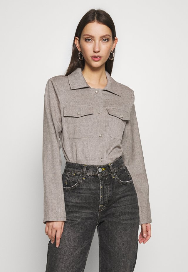 BUTTONED OVERSHIRT - Button-down blouse - grey