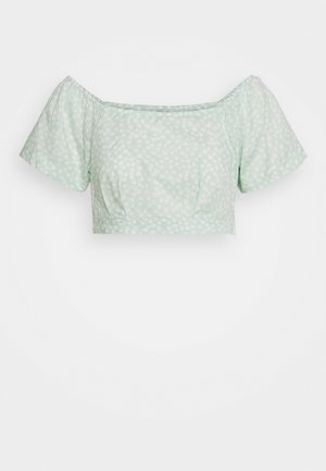 SQUARE NECK BLOUSE - Pusero - green print