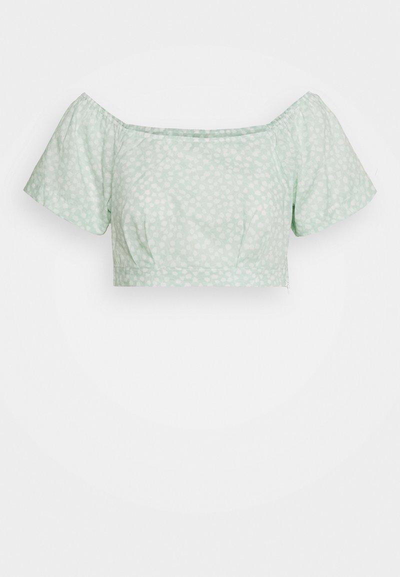 NA-KD - SQUARE NECK BLOUSE - Bluse - green print