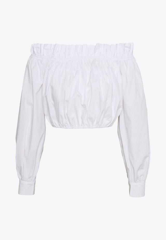 GATHERED BLOUSE - Pusero - white
