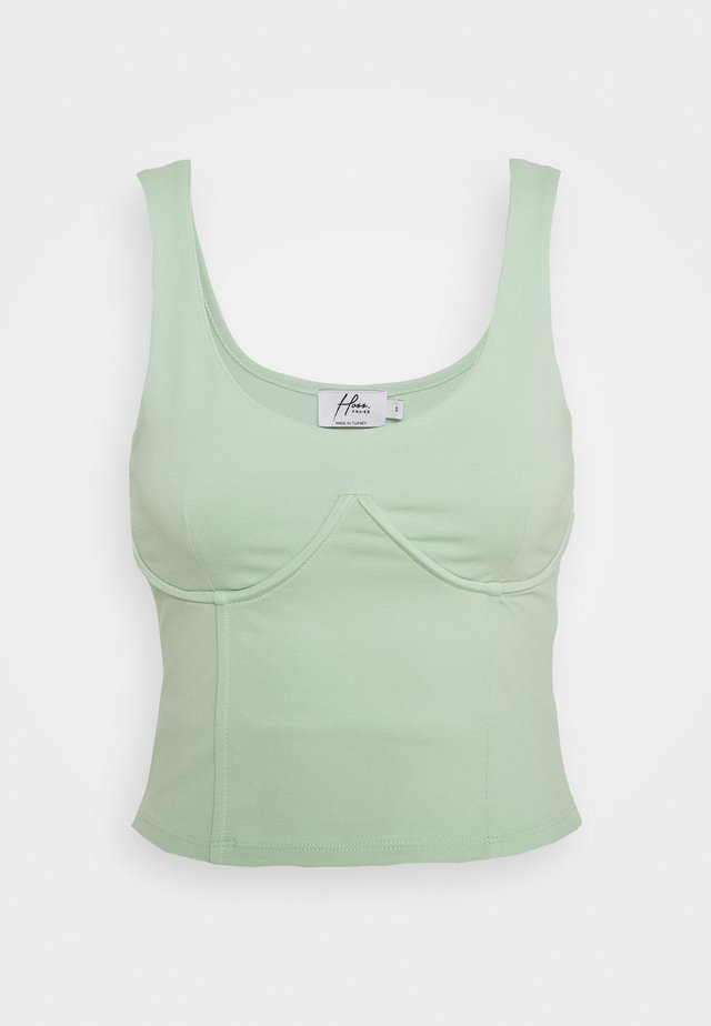 X HOSS DETAILED CUP SINGLET - Blouse - pastel green