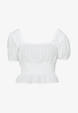 SQUARE NECK CROPPED BLOUSE - Bluser - white