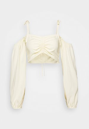 PAMELA REIF X NA-KD TIE DETAIL CROPPED  - Blouse - cloud cream