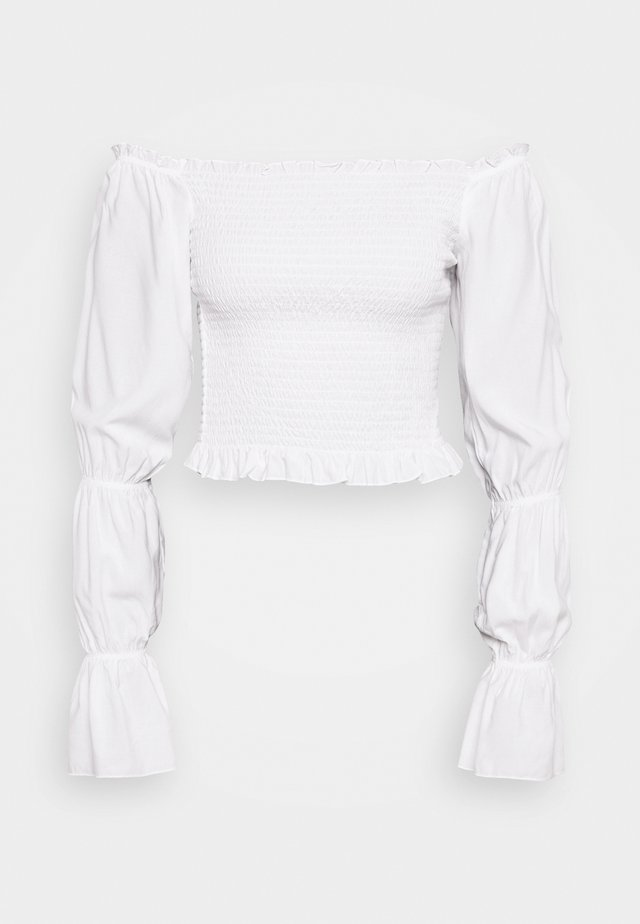 PAMELA REIF X NA-KD PUFFY SLEEVE SMOCKED - Bluzka - white