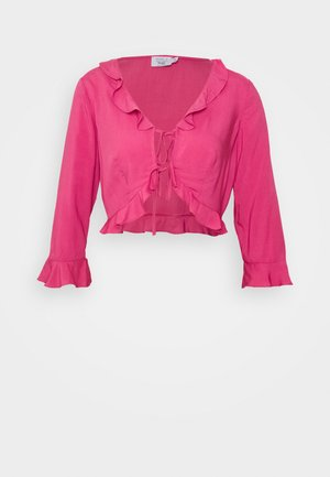 PAMELA REIF X NA-KD FRILL DETAIL TIE  - Blouse - rosewood