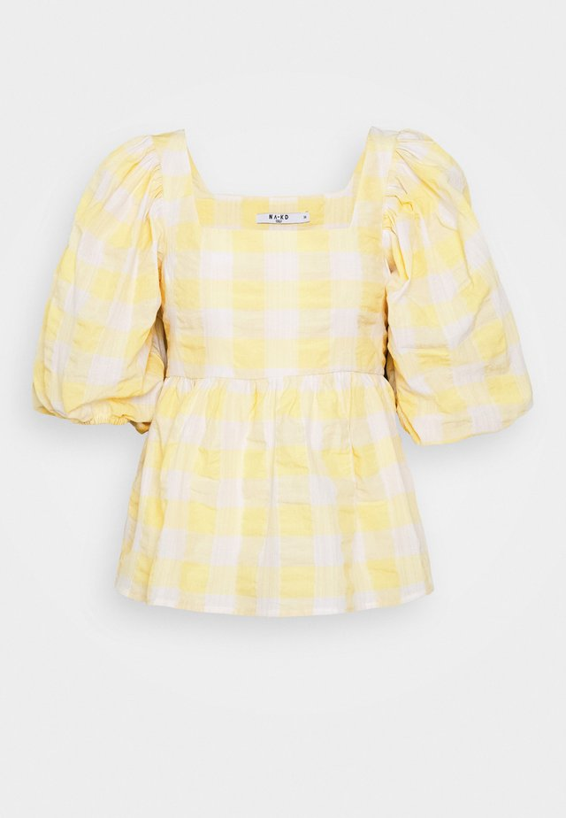 PUFF SLEEVE SMOCK BLOUSE - Blouse - white/yellow