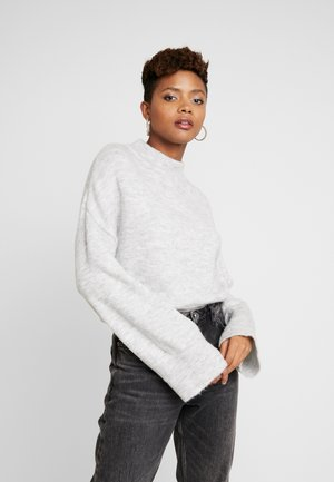 WIDE SLEEVE ROUND NECK - Strikkegenser - light grey
