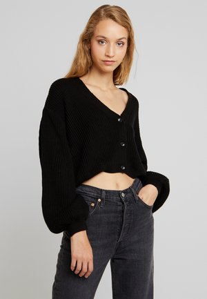 VOLUME SLEEVE CARDIGAN - Gilet - black