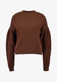 NA-KD - HANNA WEIG X DROP SHOULDER PULLOVER - Stickad tröja - brown - 4