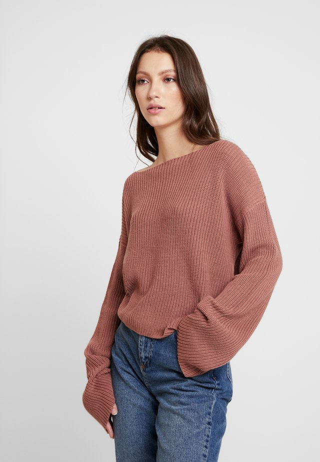 CROPPED LONG SLEEVE - Strickpullover - dusty dark pink